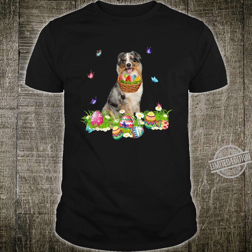 Aussie Bunny Dog With Easter Eggs Basket Butterflies Shirt