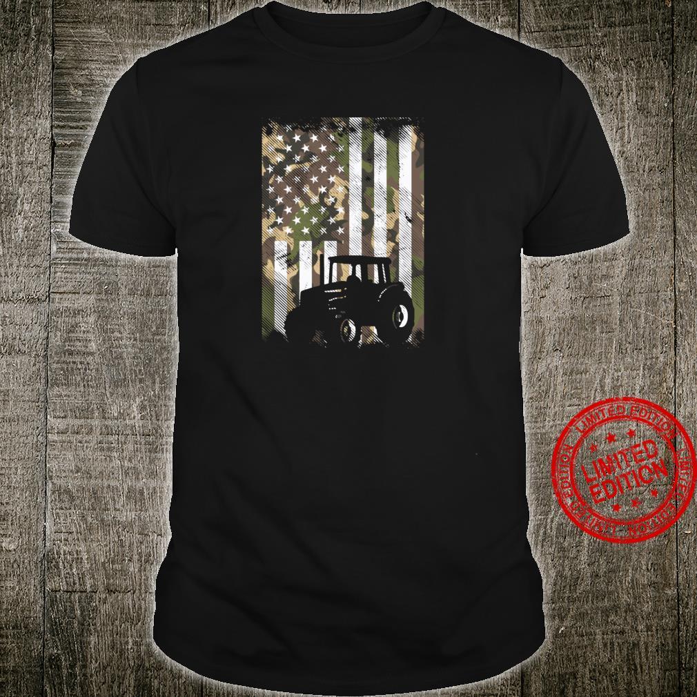 Camo Flag Tractor Vintage Farm Truck Patriotic Farmer Shirt