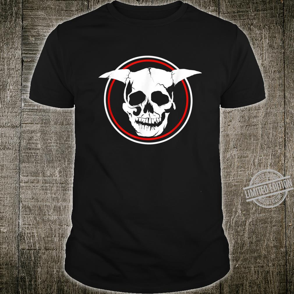 Cool Rock Music Skull with Horns in White & Red Circle Shirt