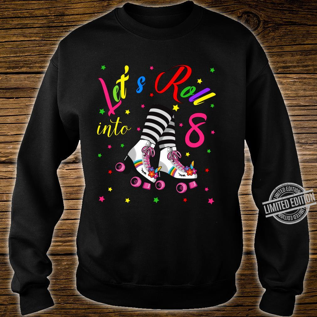 Cute 8th Unicorn Roller Skate Birthday Party for Girls Shirt sweater