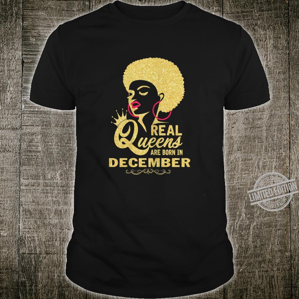 Damen Queens are born in December Black Girl Geburtstag Dezember Shirt