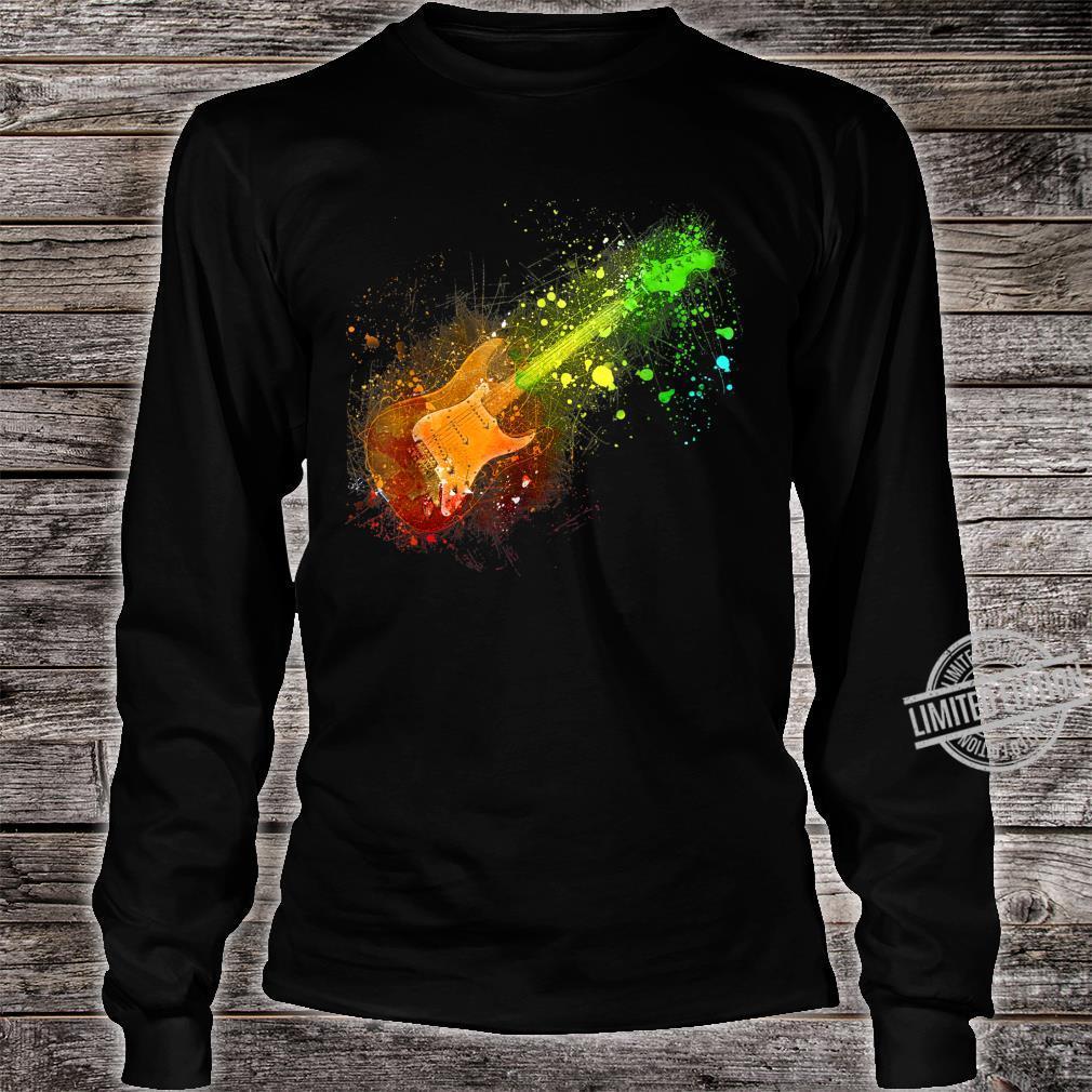 Electric Guitar Retro Rock Music Musician Player Shirt long sleeved