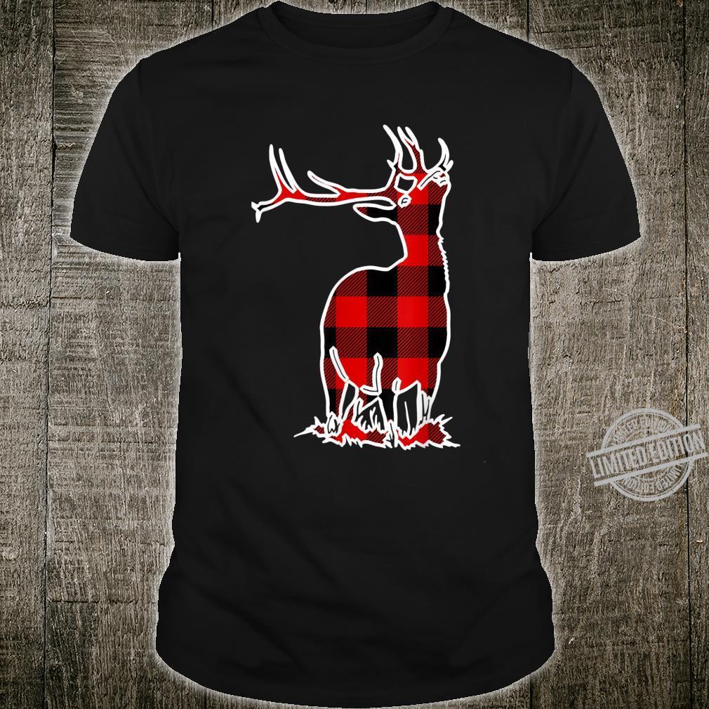 Elk Red Buffalo Plaid Wapiti Deer Matching PJ Family Shirt