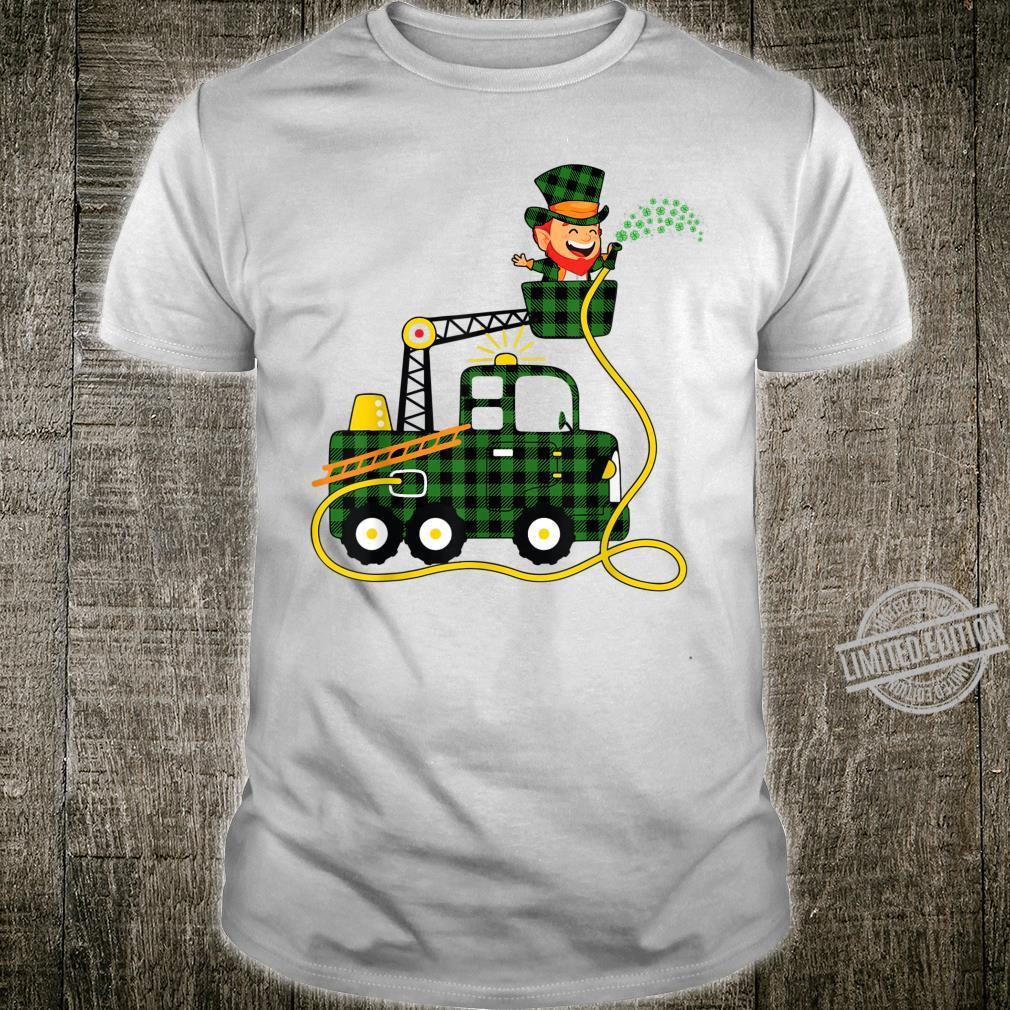 Fire Truck Leprechaun Green Plaid Firefighter Patrick's Day Shirt