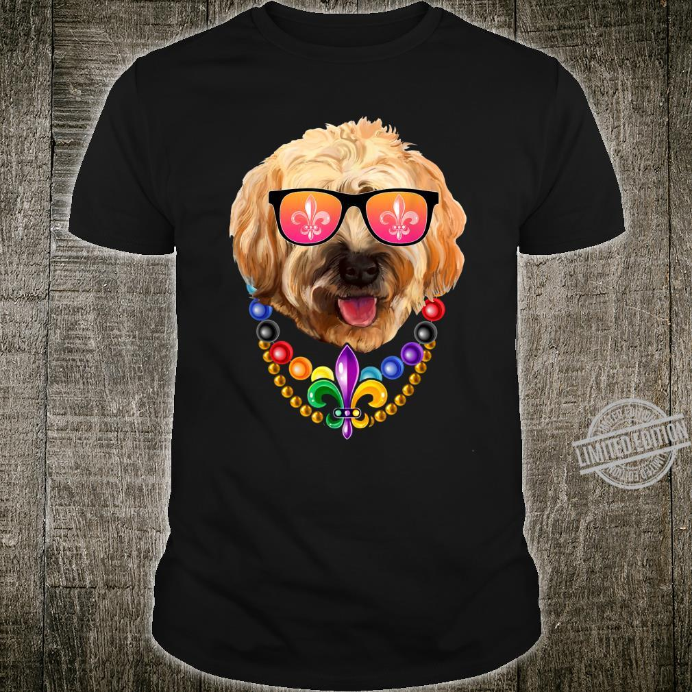 Funny Beads With Goldendoodle Mardi Gras Dog Glasses Costume Shirt