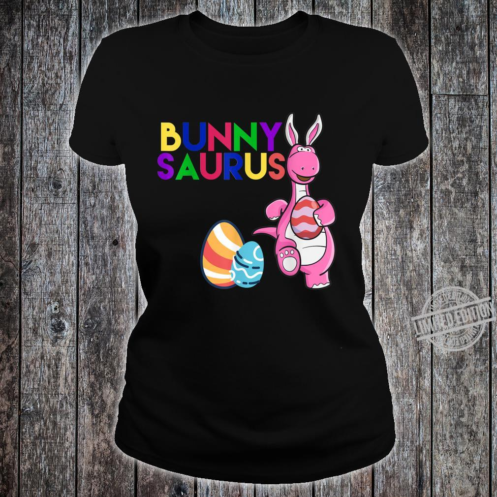 Funny Bunny Saurus Dinosaur Easter Egg Shirt Shirt ladies tee