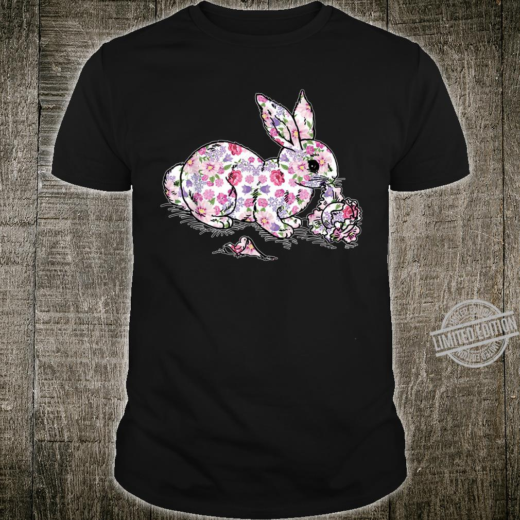 Funny Easter Shirt for Girls Easter Bunny Flowers Shirt