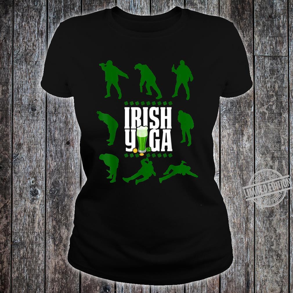 Funny Irish Yoga St Patricks Day Beer Drinking Shirt ladies tee