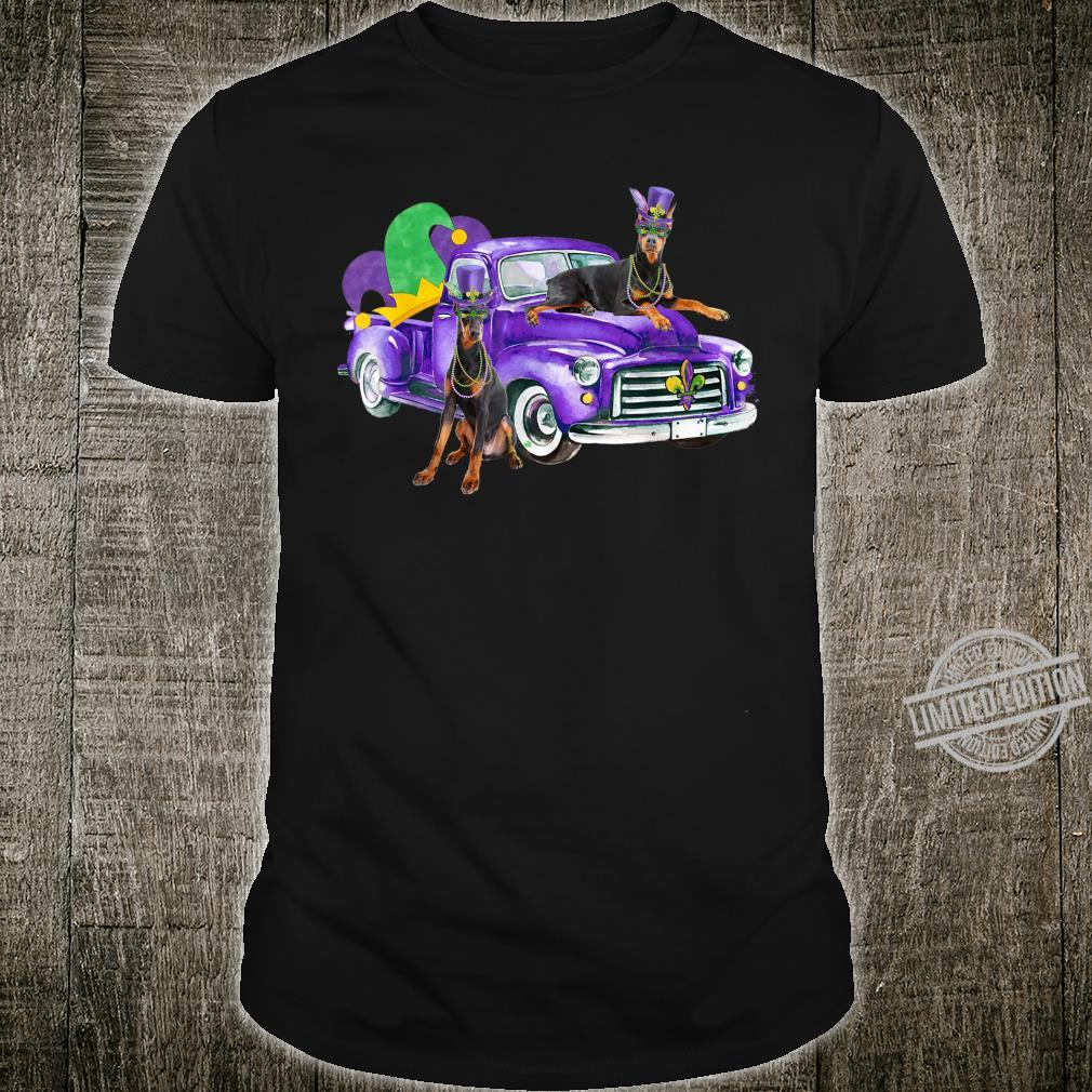 Funny Mardi Gras Pickup Truck Doberman Pinschers Shirt