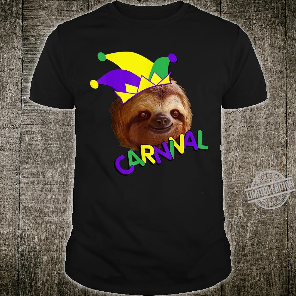 Funny Sloth Carnival Mardi Gras Party Shirt