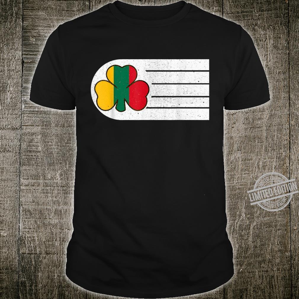Irish Lithuanian Retro Vintage Stripe Shamrock Flag Ancestry Shirt