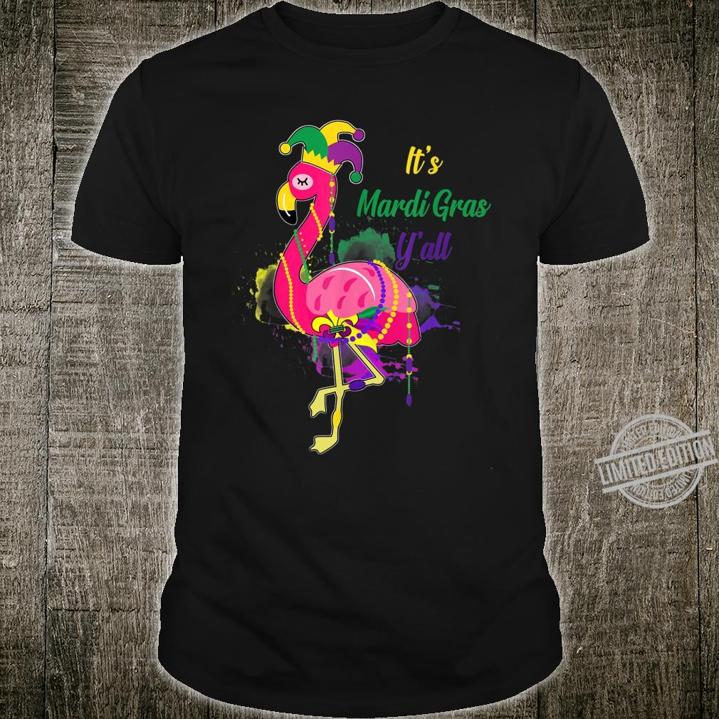 It's Mardis Gras Y'all Flamingo Jester Hat Mask Beads Shirt