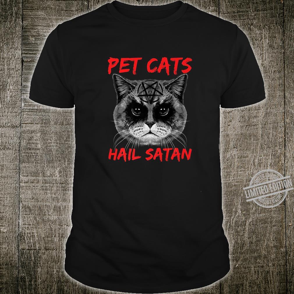 Pet Cats Hail Satan Occult Pentagram Cat Black Metal Style Shirt