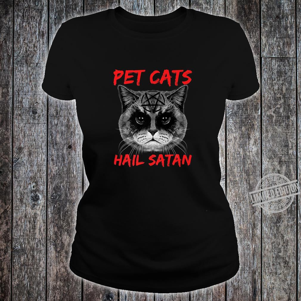 Pet Cats Hail Satan Occult Pentagram Cat Black Metal Style Shirt ladies tee