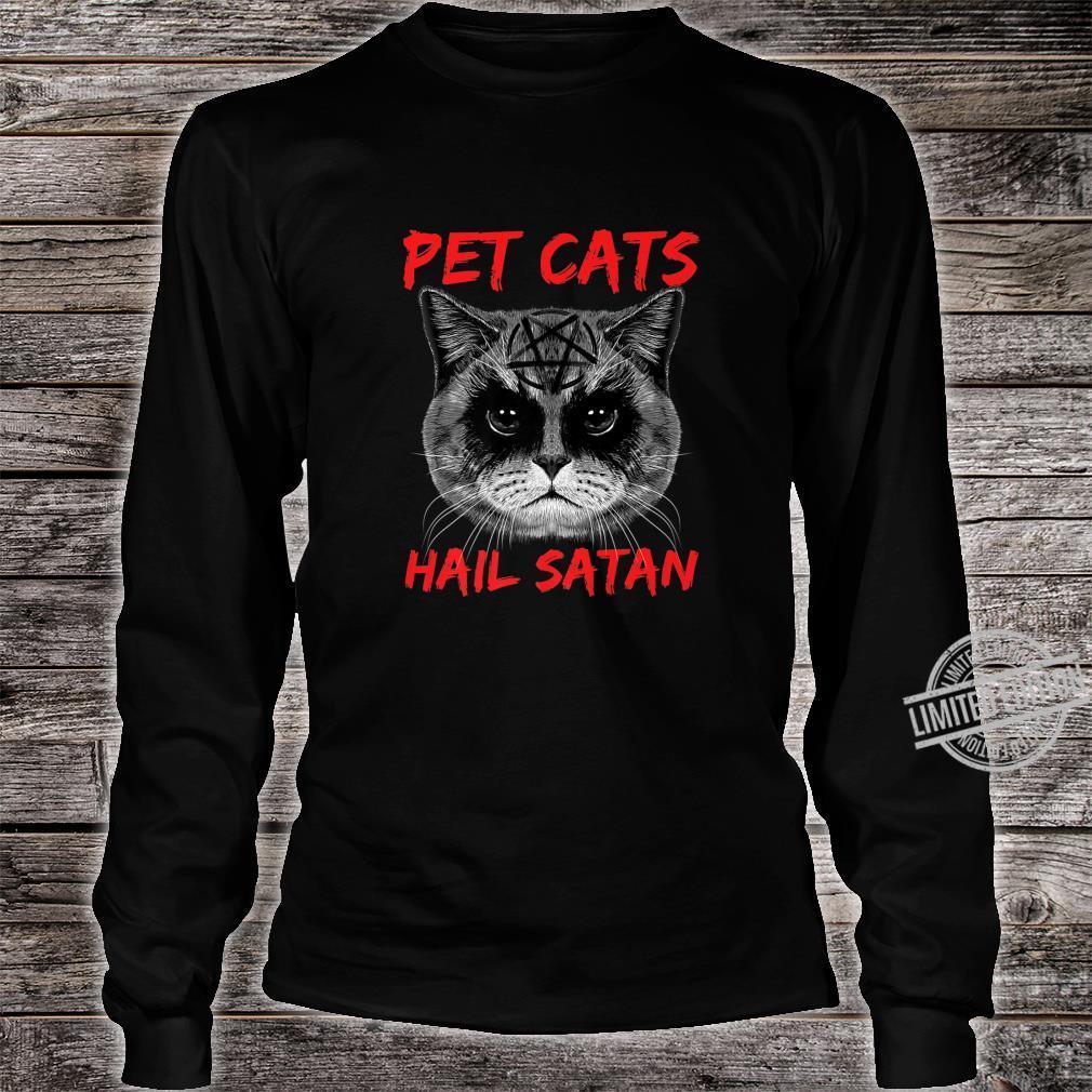 Pet Cats Hail Satan Occult Pentagram Cat Black Metal Style Shirt long sleeved