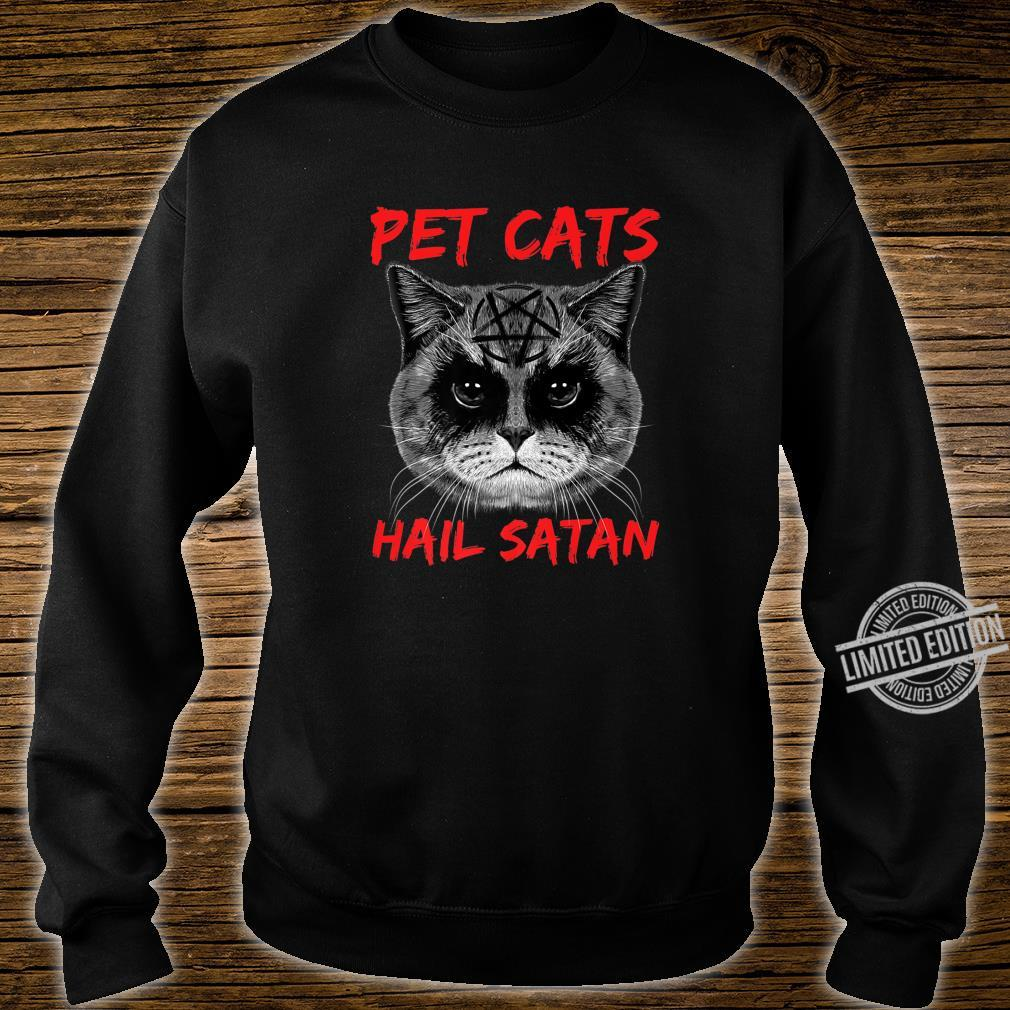 Pet Cats Hail Satan Occult Pentagram Cat Black Metal Style Shirt sweater