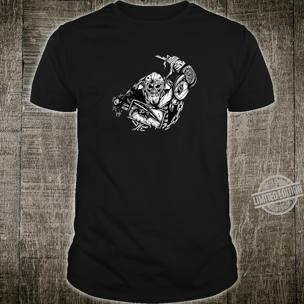 Pirate Biker Skull Mask Hockey Goalie Black Shirt