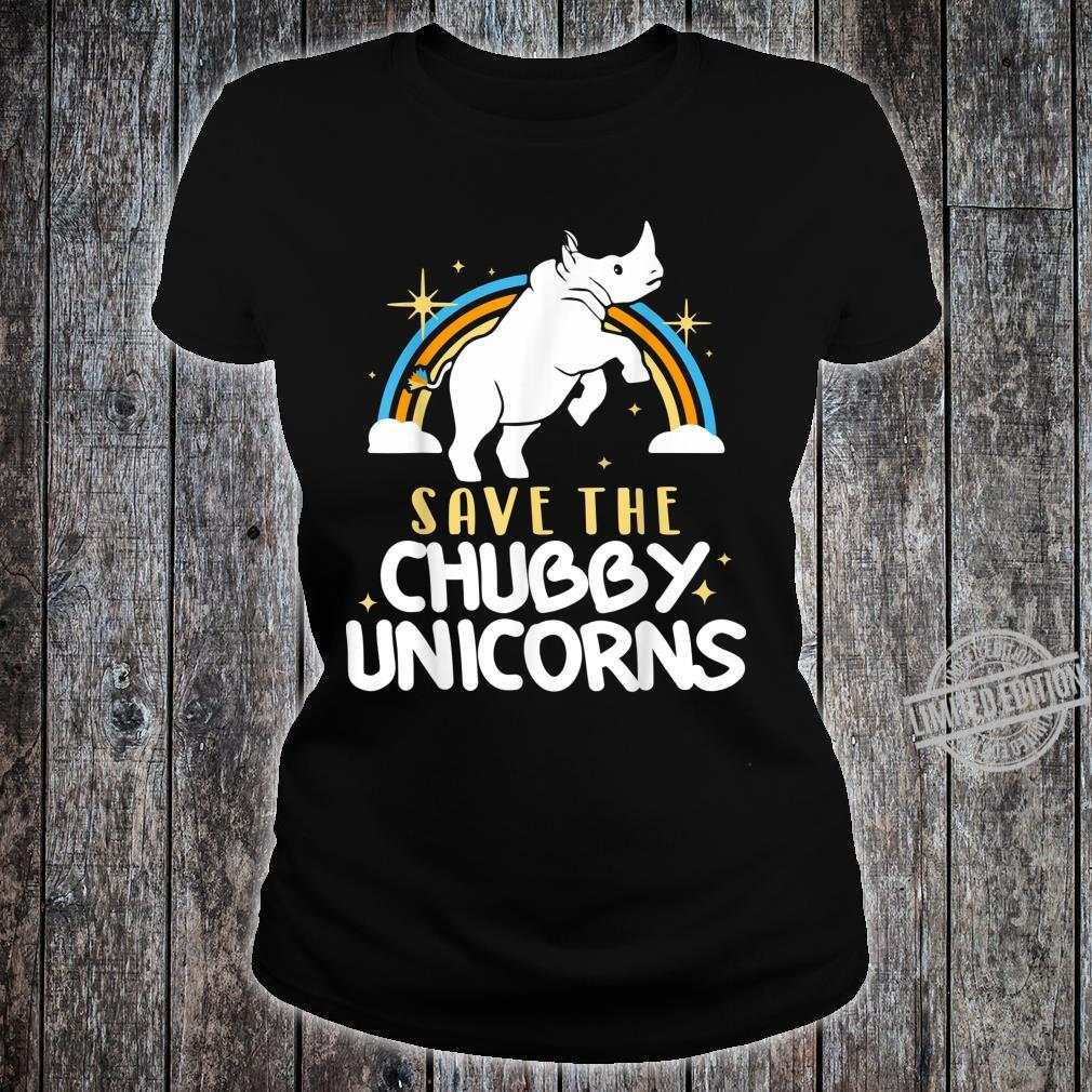 SAVE THE CHUBBY UNICORNS FAT RHINO Shirt ladies tee