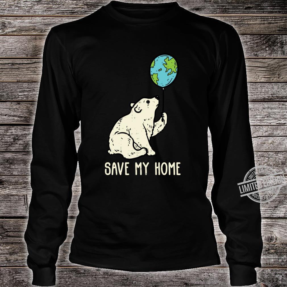 Save My Home Polar Bear Balloon Cute Earth Day 2020 Shirt long sleeved