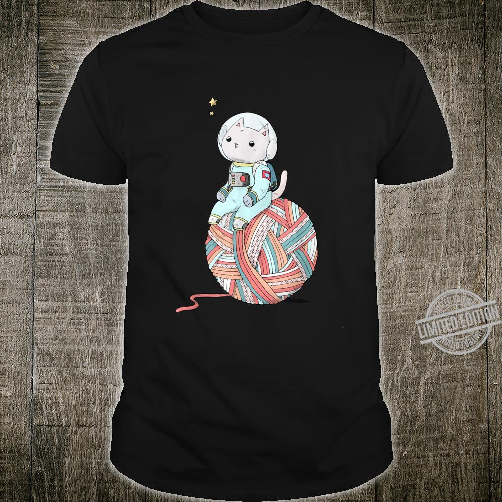Space Cat on Planet Yarn Ball Knittings Shirt