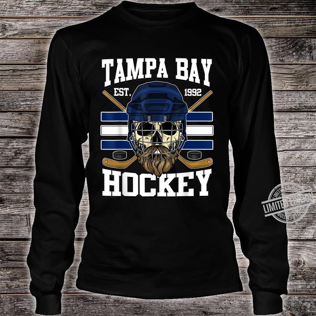 Tampa Bay Hockey Shirt with Bearded Skull, Puck and Helmet Shirt long sleeved