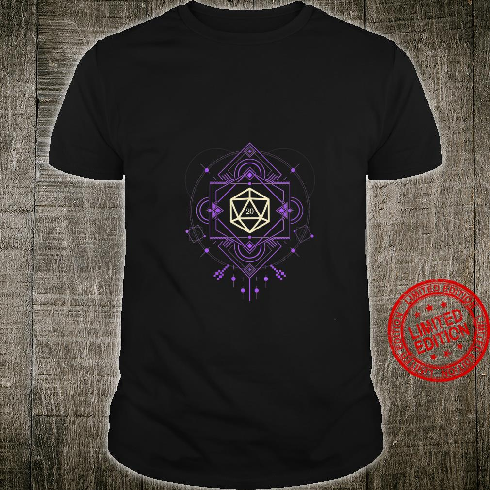 Womens Geeky Futuristic Purple Polyhedral D20 Dice Set Shirt