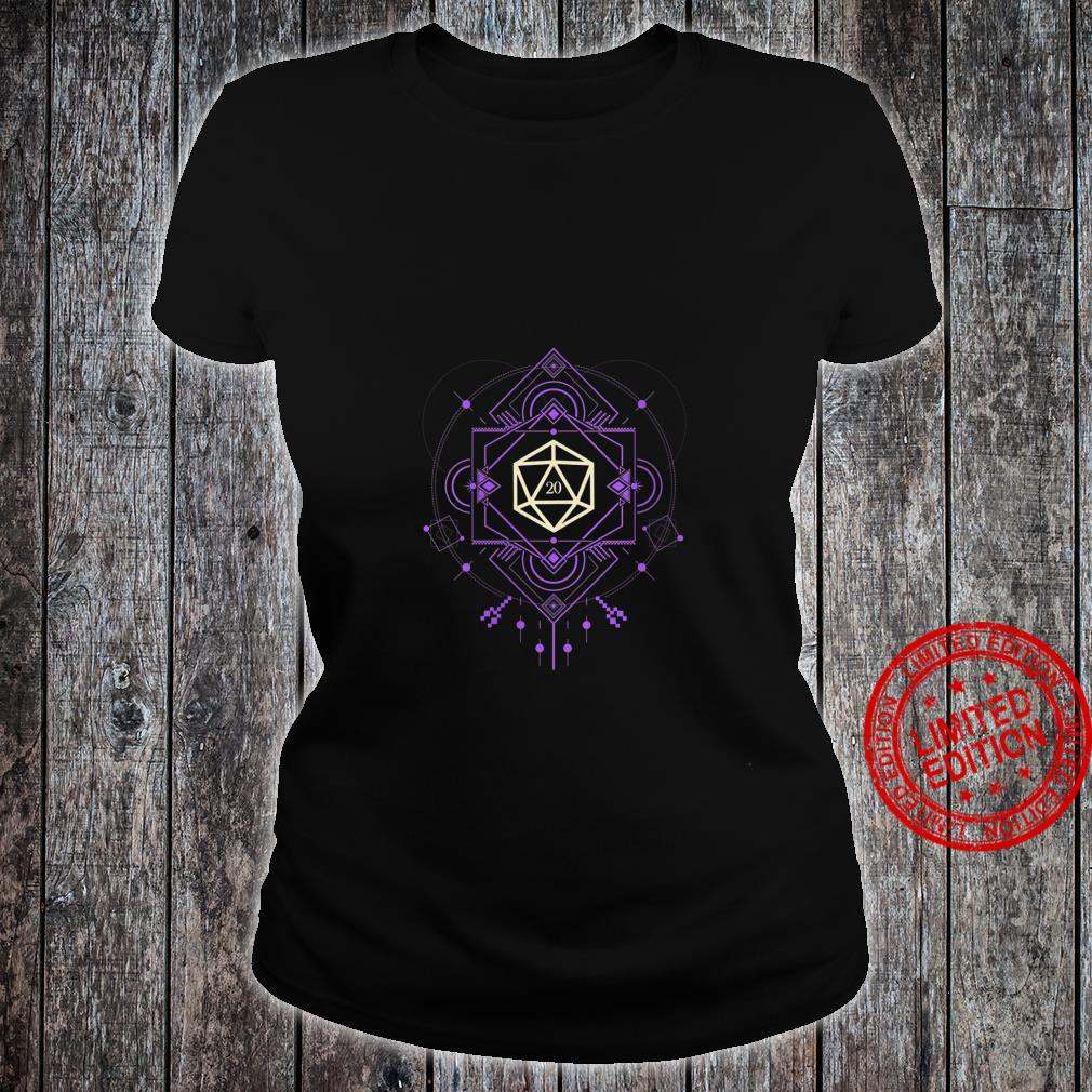 Womens Geeky Futuristic Purple Polyhedral D20 Dice Set Shirt ladies tee