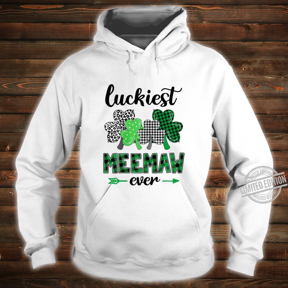 Womens Luckiest Meemaw Ever Green Plaid Shamrock St Patrick's Day Shirt hoodie