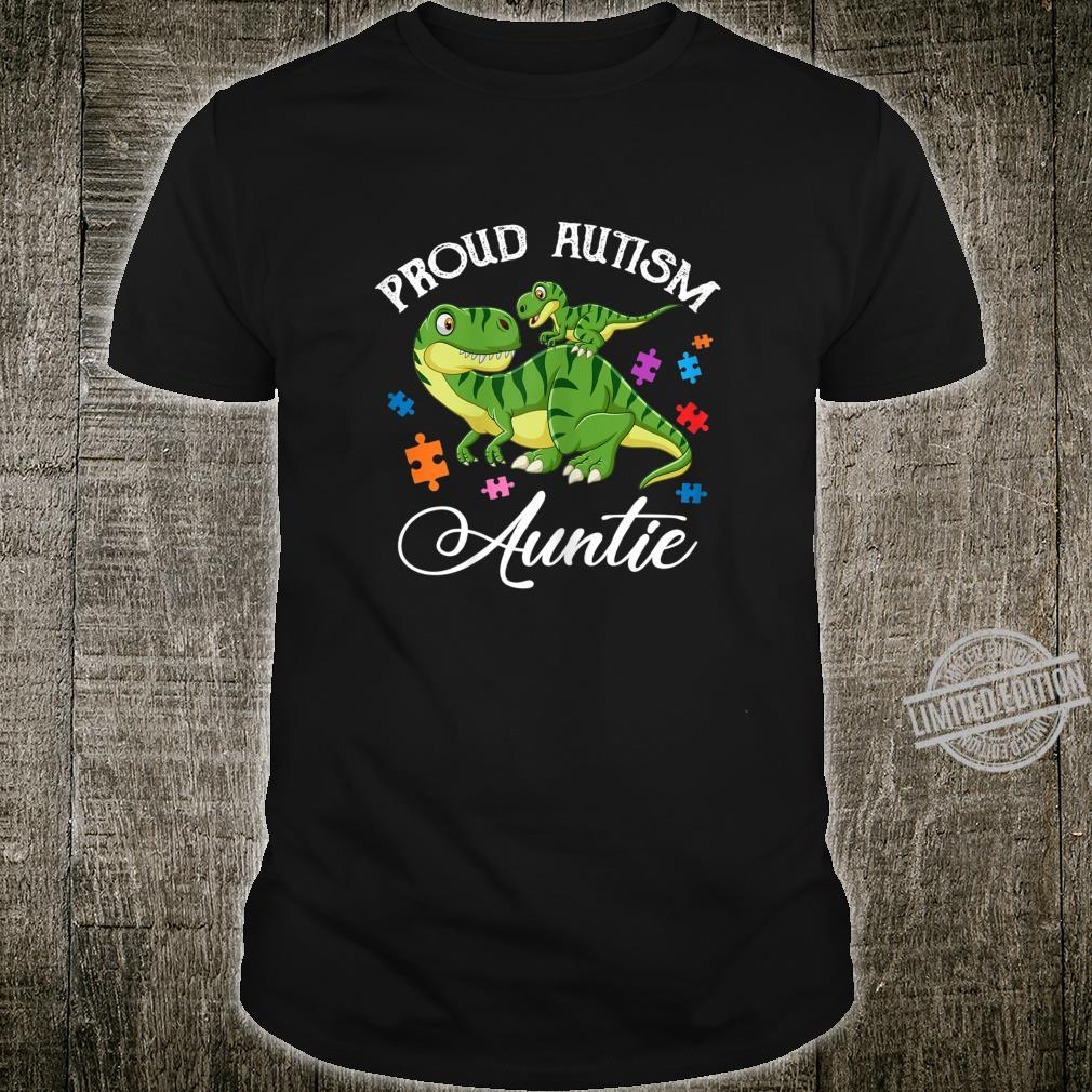 Womens Proud Autism Auntie Dinosaur Cute Autism Aware Month Shirt