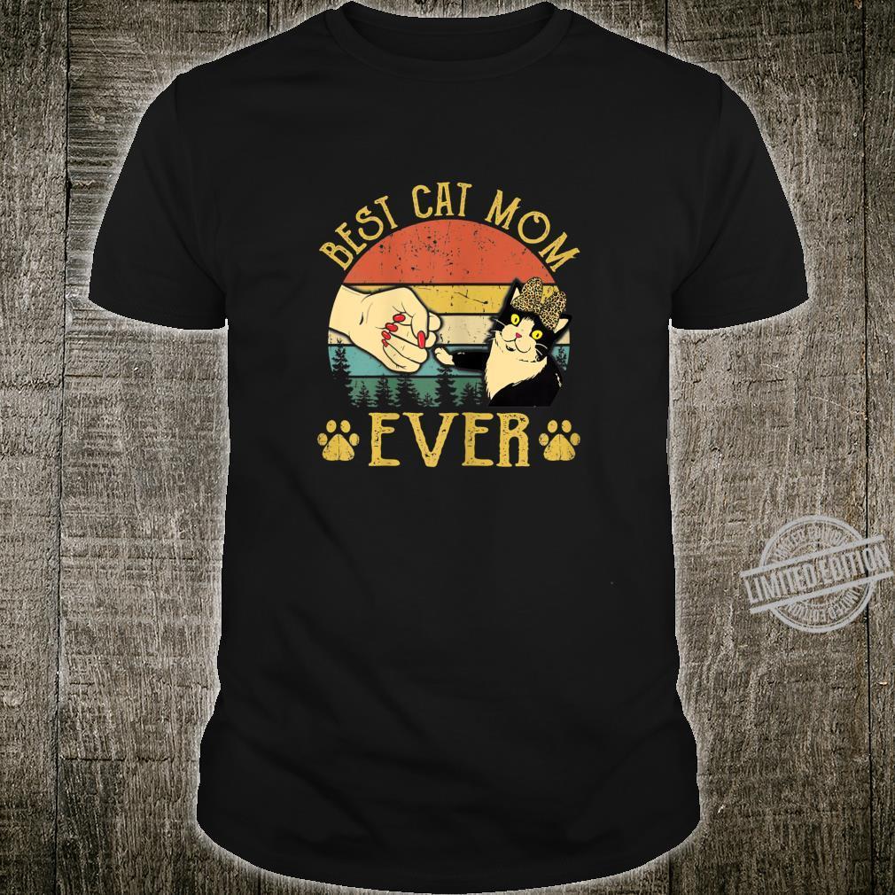 Womens Retro Vintage Best Cat Mom Ever Leopard Shirt Shirt