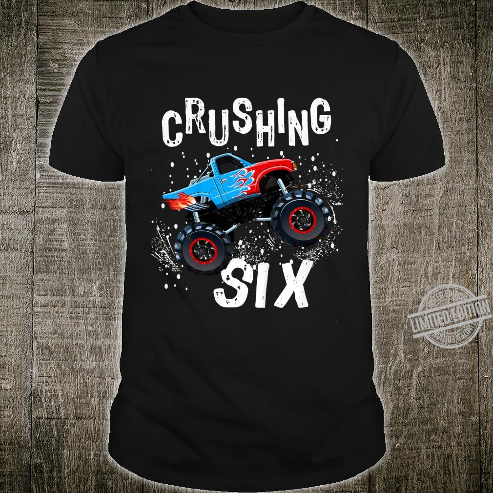 Youth Boy Sixth Birthday Turning 6 Monster Truck Six Year Old Shirt