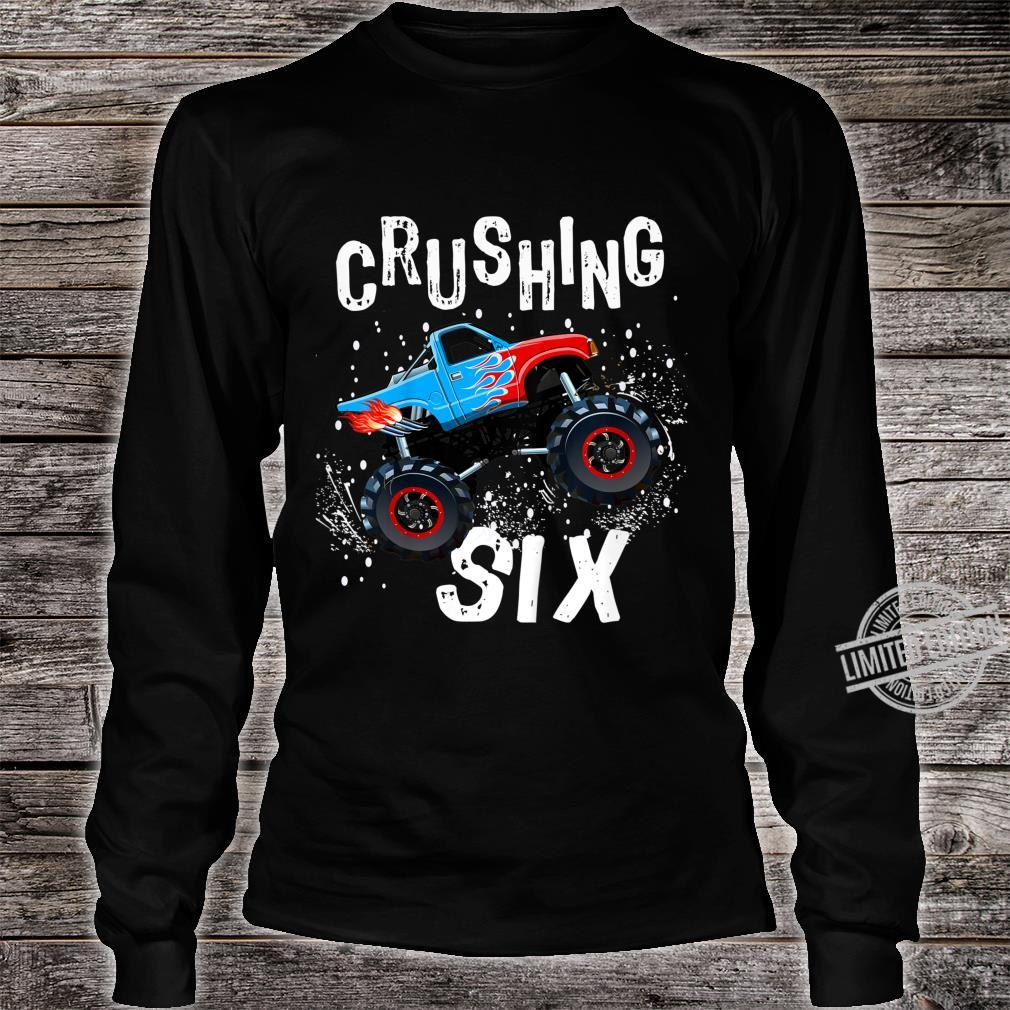 Youth Boy Sixth Birthday Turning 6 Monster Truck Six Year Old Shirt long sleeved