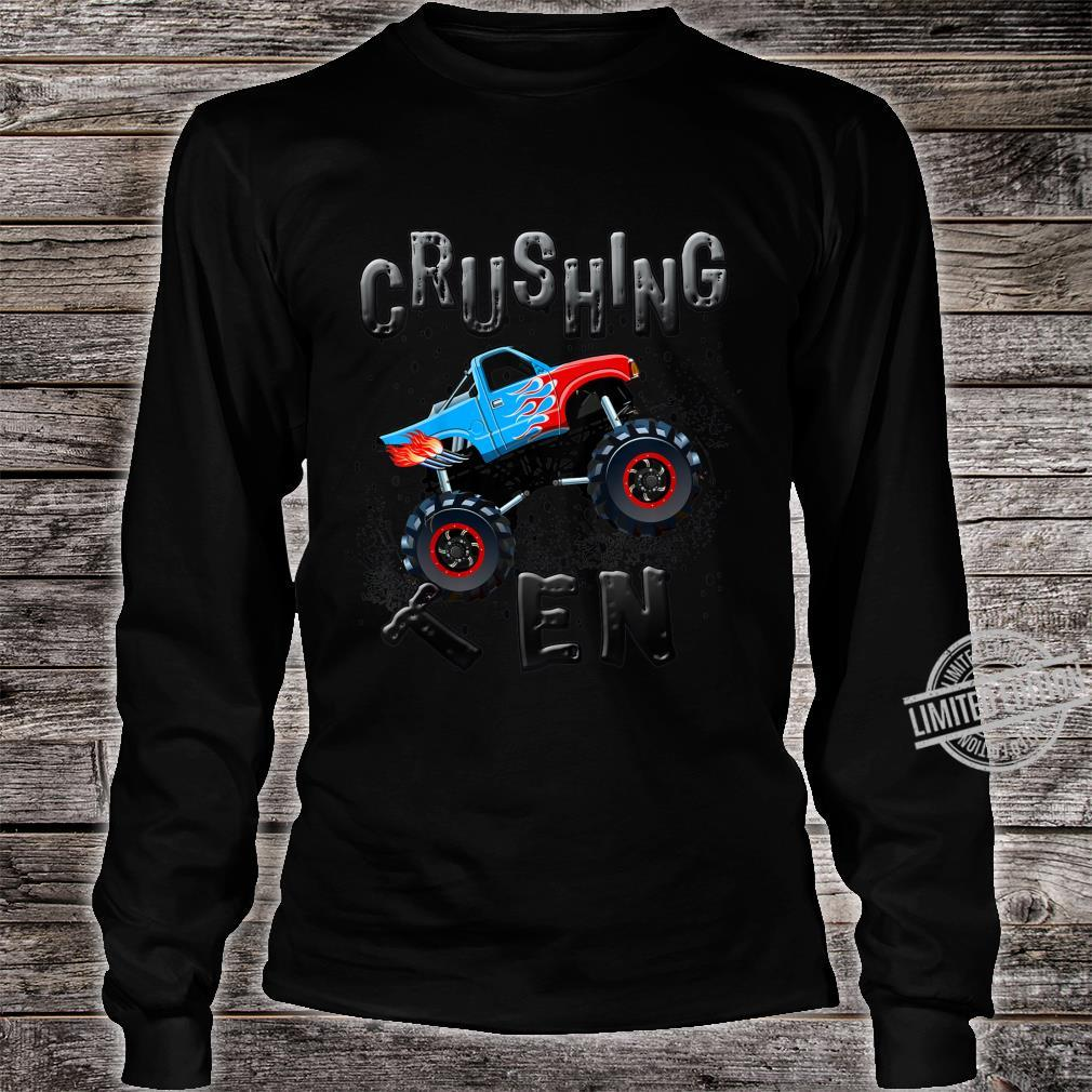 Youth Boys 10th Birthday Monster Truck Tenth Bday Ten Year Old Shirt long sleeved