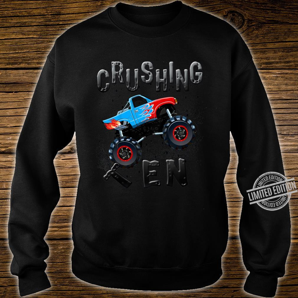 Youth Boys 10th Birthday Monster Truck Tenth Bday Ten Year Old Shirt sweater