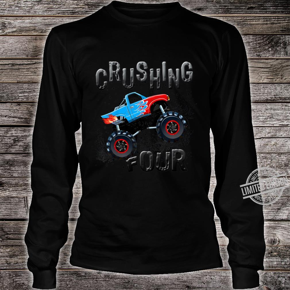 Youth Boys 4th Birthday Monster Truck Fourth Bday Four Year Old Shirt long sleeved