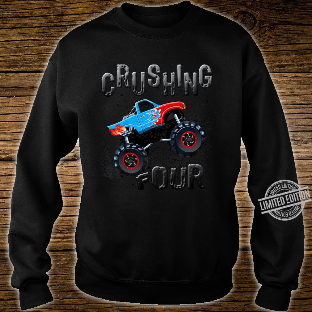 Youth Boys 4th Birthday Monster Truck Fourth Bday Four Year Old Shirt sweater